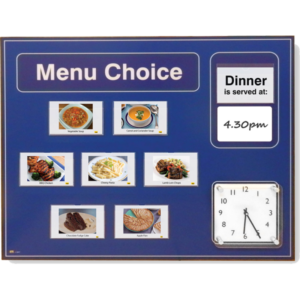 dementia menu board blue